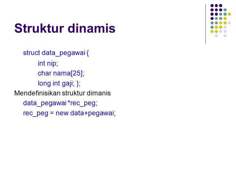 Struktur dinamis struct data_pegawai { int nip; char nama[25];
